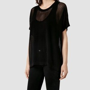 All Saints | Ladder Tee Mesh Style in Black